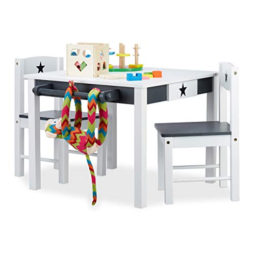 Relaxdays, weiß-grau Kindersitzgruppe Star, Tisch u. 2 Stühle, aus Holz, Kindertischgruppe für Jungen und Mädchen, Stern, Standard