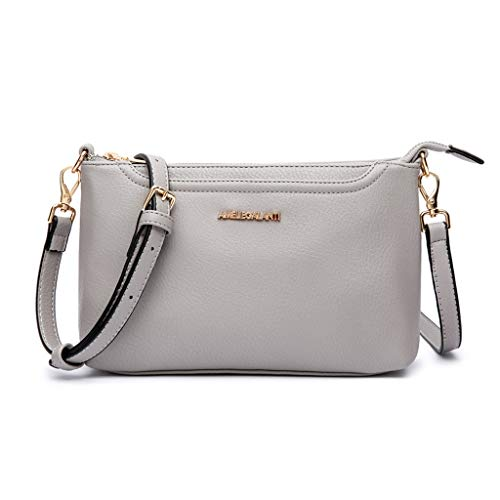 Crossbody Bags for Women, Lightweight Purses and Handbags PU Leather Small Shoulder Bag Satchel with Adjustable Strap (GREY)