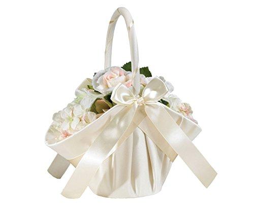 Lillian Rose Elegant Large Satin Flower Girl Basket Ivory