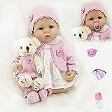 ZIYIUI Muñeca Reborn 55 cm 22 Pulgadas Bebe Reborn Niña Muñeco Simulación de Bebes Reborn Silicona de Realista Lindo de la Muñeco Juguetes Regalode Los Niños Reborn Dolls