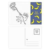 仏教のロータスの手を簡単なイラストパターン バナナのポストカードセットサンクスカード郵送側20個