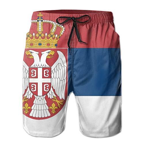 Flag of Serbia_1321 Shorts der Männer Casual Classic Fit Kordelzug Sommer Strand Shorts Beachwear Sommerurlaub Badehose