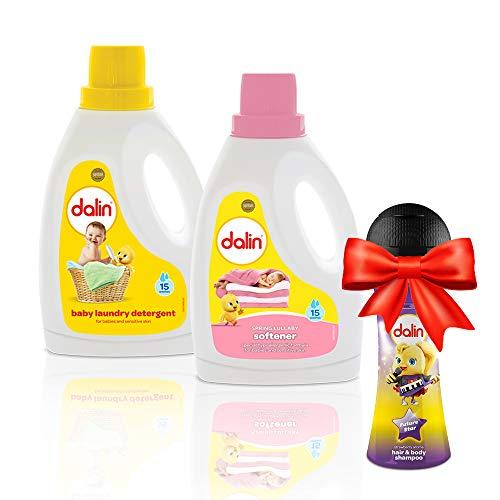 Dalin Laundry Bundle – Dalin Waschmittel 1500 ml und Dalin Weichspüler 1500 ml – Gratis Dalin Dalin Mikrofon Spielzeugflasche – Erdbeere 300 ml