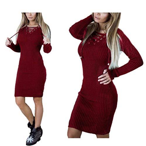 Damska sukienka z długim rękawem V Neck Casual Midi Bodycon Płaszcz Sukienka Ciepła, jednokolorowa sukienka sweterkowa