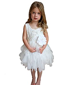 Wedding Flower Girl Dress For Toddler - Lace With Pink or White Tutu