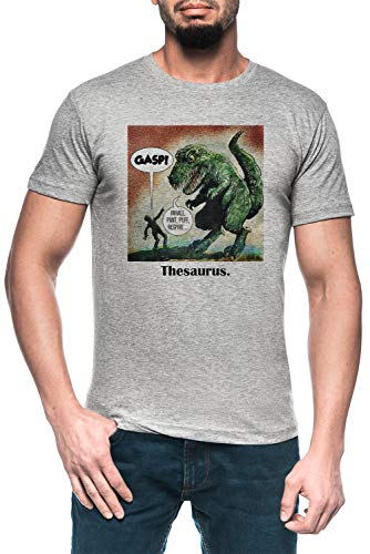 Los Solamente Sobreviviente Dinosaurio Tesauro Hombre Gris Camiseta Manga Corta Men's Grey T-Shirt