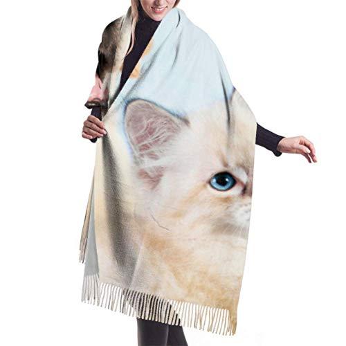 """27""""x77 Chales y abrigos para mujer Gato Perro Juntos Neva Masquerade Kitten Boys Bufanda Bufanda para hombres Elegante manta grande y cálida"""
