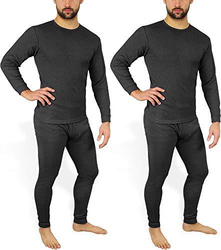 normani 2 x Herren Thermo Unterwäsche - Ski Unterwäsche Garnitur - Lange Unterhose und Hemd - Thermounterwäsche Set Farbe Anthrazit Größe M