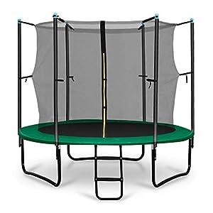 Klarfit Rocketstart 250 Cama elástica trampolin con Red de Seguridad (Superficie Base 250 cm diametro, sujecion 3 Patas Doble, Varillas de sujecion Acolchadas, Lona Resistente a los Rayos UV, Protect