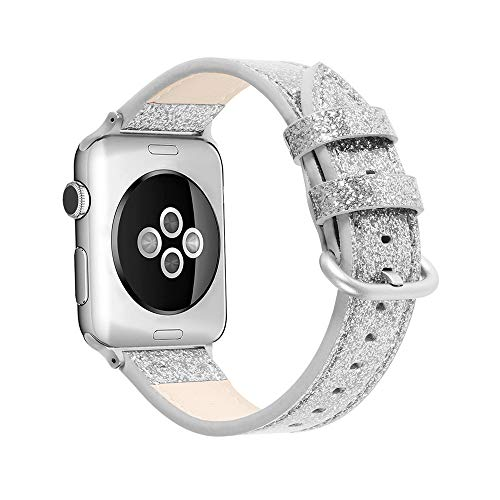 WAY-KE Cinturino di Ricambio Classico con Fibbia Cinturino in Pelle per Orologio Serie Apple 5 4 3 2 1 Iwatch 38MM 40MM 42MM 44MM,Argento,40MM