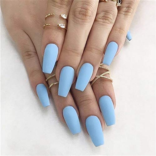 Denifery 24Pcs Ballerina Matte Coffin Nails False Nails Pure Nude Full Cover Artificial Nails Fashion Party Prom Press Clip on Nails for Women and Girls (Light Blue)