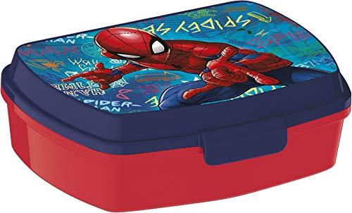 ALMACENESADAN 2058 Sandwichera Restangular Multicolor Spiderman Graffiti; Producto de plástico; Libre BPA; Dimensiones Interiores 16,5x11,5x5,5 cm