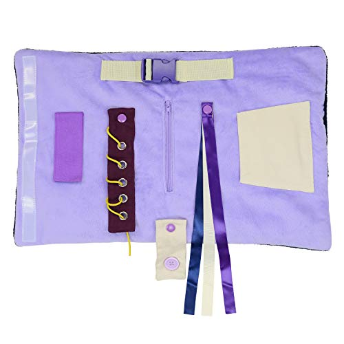 Modaliv – 2-in-1 Alzheimer's and Dementia Fidget Mat and Muff for Seniors – Sensory Lap Pad with 8 Activities – Rolls Up to Keep Hands Warm – Made to Last with Strong Construction (Lilac)