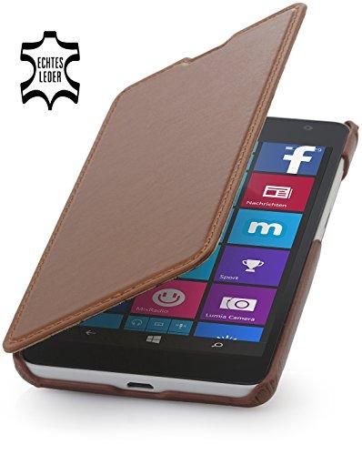 StilGut® Book Type Case ohne Clip, Hülle aus Leder für Microsoft Lumia 535/535 Dual SIM, Cognac