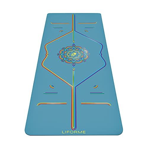 Liforme Tapis de yoga Inked Collection – Le Meilleur Tapis de Yoga Écologique et Antidérapant avec Un Système d'Alignement Unique et Original - Tapis De Yoga Biodegradable – Bleu ciel arc-en-ciel