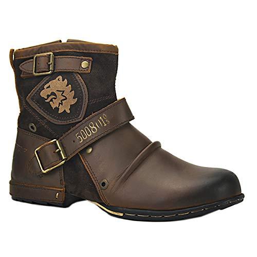 OSSTONE Herren Leder chukkastiefel Worker Biker Boots-Motorrad-Leder-Schuhe für reißverschluss Schnürstiefeletten Boots 5008-1-DE Braun 9