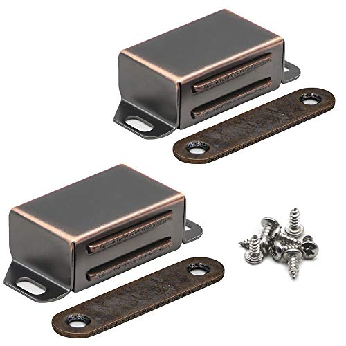 KAILEYOUXIANGONGSI 20 lbs Magnetic Door Catch, Heavy Duty Latch for Cabinets Shutter Closet Furniture Door, Stainless Steel Cabinet Catch, Oil Rubbed Bronze (2 Pack)