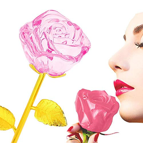 24 K chapado en oro Flor color de rosa Tallo largo Cumpleaños artificial San Valentín Regalo para el Día de San Valentín Amor para siempre Madre/Amante/Novia (Rosa)