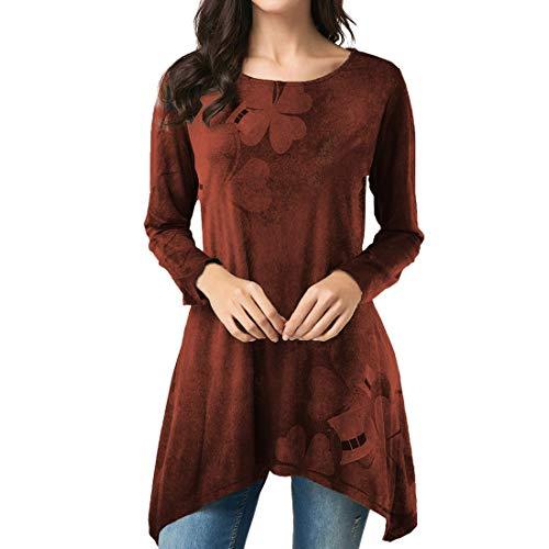 Damen Rundhals elegant T-Shirt Langarm Drucken Pullover Sweatshirt Frühling, Sommer und Herbst neu Freizeit Mode Bequemer Wandern Streetwear Unregelmäßiger Saum top 3XL