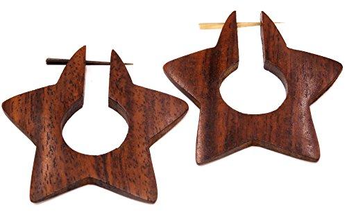 Bali PAPAYA - Pendientes falsos dilatadores de madera, diseño de estrella de estrella, para hombre y mujer, estilo Wooden Fake Expander gargantas, pendientes en espiral marrón