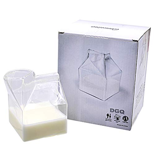 DGQ Glass Creamer Mini Milk Class Cup Hand-Blown Carton Container 12 Ounce Water Glass Cup Milk Creamer Box