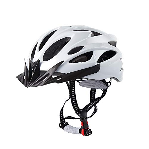 MUSEWISH Adult Bike Helmet CPSC Certified Bicycle Helmet Road Cycling Helmet Mountain Bike Helmets Bicycle Helmets for Men and Women with Detachable Visor(White)