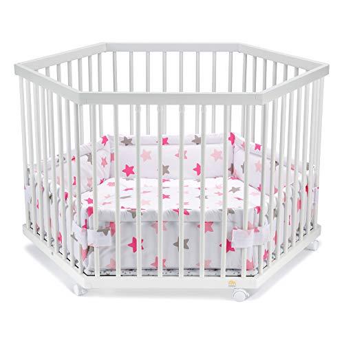 FabiMax Laufgitter 6-eckig mit Laufgittereinlage rosa Sterne auf weiß, stufenlos höhenverstellbar, Parkettrollen, Buche, weiß lackiert