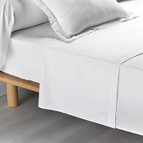 drap plat 2 personnes 240x300 cm percale uni percaline blanc