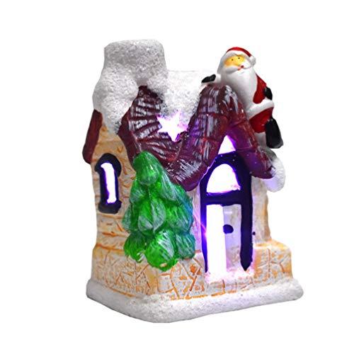 TOYANDONA Adornos de la casa de Madera de Navidad Mini led Decoraciones de Linterna de la casa del árbol de Navidad para Regalos de Centro de Mesa de Fiesta de Vacaciones de Navidad