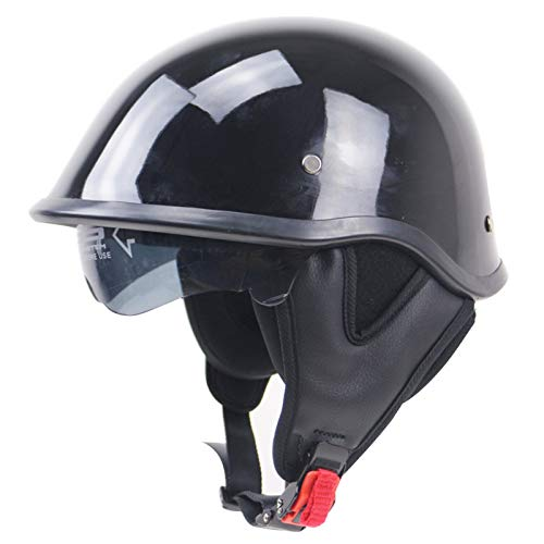 GAOZHE Casco Moto Abierto,Retro Adultos Retro Casco Moto,Vintage Classic Abierto Cascos Half-Helmet,con Visera,Dot Approved,Profesional Moto Jet Cascos,para Mujer y Hombre Street Bike Cruiser