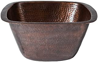 The Copper Factory CF155AN Solid Hand Hammered Copper 13-Inch by 13-Inch Medium Square Bar/Prep Sink, Antique Copper