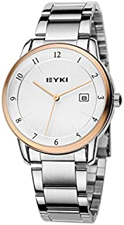 EYKI Fashion Classic Lover's Watch Table Quartz Calendar Steel Watchband EET8722 Men Male Golden-White