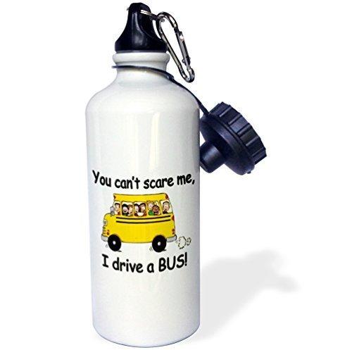 Cukudy Water Fles Cadeau, U kunt niet Scare Me Ik Rijd Een Bus Wit RVS Water Fles voor Vrouwen Mannen 21oz