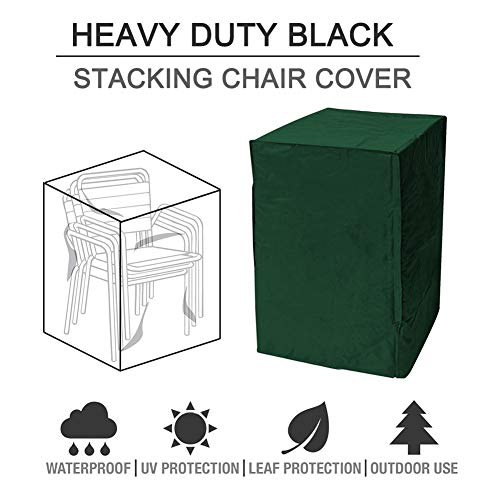 HOMYY Garden chair cover, patio furniture cover, protective cover for garden chairs, stacking chairs, cover, waterproof, windproof buckle, water-repellent protective cover for stacking chairs.