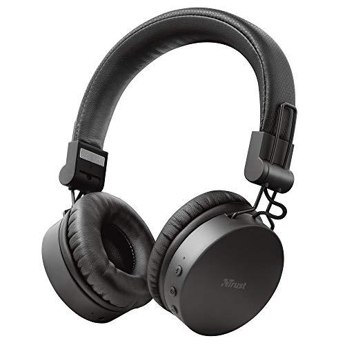 Trust Mobile Tones Cuffie Bluetooth senza Fili On-Ear Wireless (25 Ore di Tempo di Utilizzo, Microfono Integrato, Driver da 40 mm, Design Ripiegabile) Nero