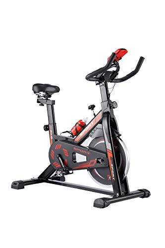 WENHAUS Indoor Cycle F Bike Heimtrainer mit LCD Anzeige, Fitnessbike mit gepolsteter Armauflage, 10kg Schwungrad,Speedbike mit flüsterleise Riemenantrieb-Fahrrad (Rot)