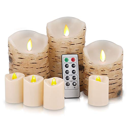 Flickering Flameless Candles Birch Candles and Votives LED Candles Battery Operated Candles Birch Bark Effect Real Wax Pillar LED Candles Remote Control and Cycling 24 Hours Timer