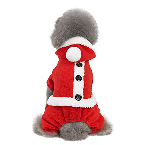 Watonic Dog Costume,pet Clothes Autumn and Winter Christmas Holiday Clothing Pants Styles Pet Costumes Santa for Small Dogs Coats Doggie Outfits Puppy Hoodies (L,Red)
