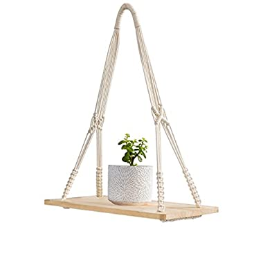 Mkono Macrame Display Wall Hanging Shelf Swing Rope Floating Shelves Home Decor, 20 Inches