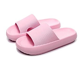 Pillow Slides Slippers for Women Non-Slip Massage Foam Shower Bathroom Home Floor Thick Sole Quick Drying Womens Mens Sandals Soft Comfortable EVA Platform Open Toe Slides Shoes  Pink Eur36/37