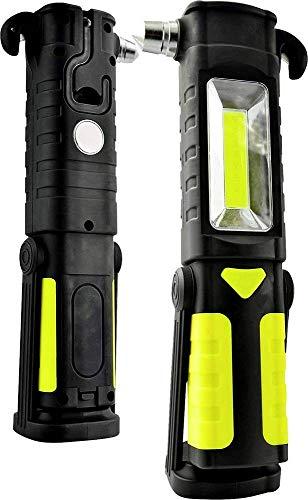 X4-LIFE Arbeitsleuchte LED Batterie magnetisch 200 lm - Werkstattlampe mit Notfallhammer, Gurtschneider und Haken 3W COB (Nothammer)