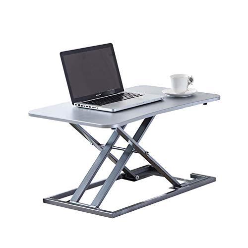 GSKJ En Pie Escritorio Convertidor,X-Tipo Estructura Pc Laptop Desk,Escritorio De Pie,Sit Stand Desk Adujstable,para El Hogar Y La Oficina-Plata Versión actualizada