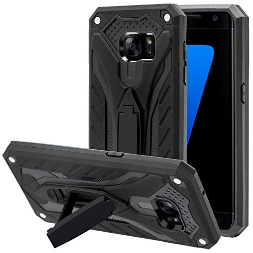 AFARER Handyhülle Kompatibel mit Samsung Galaxy S7 5,1 Zoll, Extrem-Schutz Rüstung Duale Schichte Gehäuse mit Klappständer - Schwarz