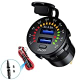 Enchufe USB dual 5 V 4,8 A color voltímetro digital 12 V cargador de coche con interruptor de encendido/apagado para coches, camiones, motos, yates