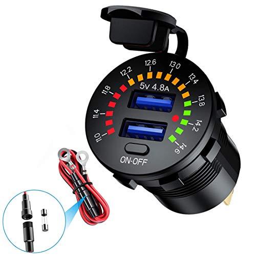 Dual USB Steckdose 5V 4,8A Farb Digital voltmeter 12V Auto ladegerät mit EIN/AUS Schalter für PKW LKWs Motorräder Yachten