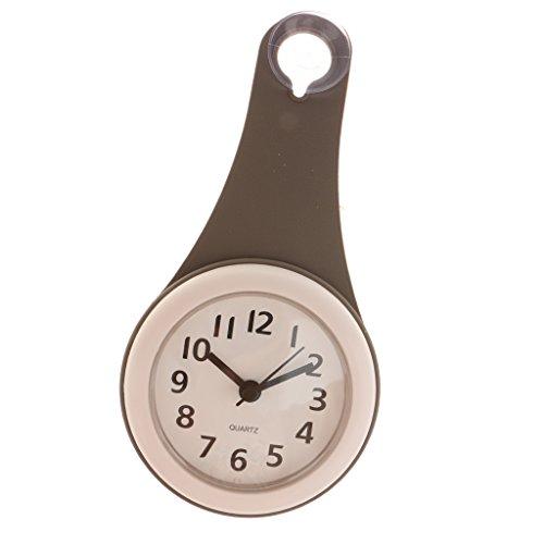 Wasserfeste Badezimmer Uhr mit Saugnapf - Duschuhr zum einfachen Aufhängen - Grau