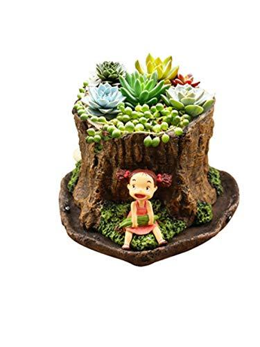 RongDuosi Mijn Buurman Totoro Hand Gierst Maïs Kleine Pruim Boom Stump Creatieve Hars Gehakte Japanse Plant Bloem Pot Fijne sieraden thuis decoraties voor de woonkamer