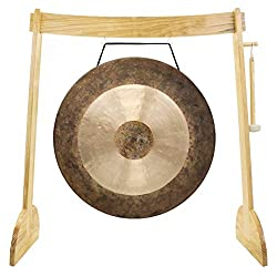 "32"" to 40"" Gongs on the Large Lunaphonic Wood Gong Stand"