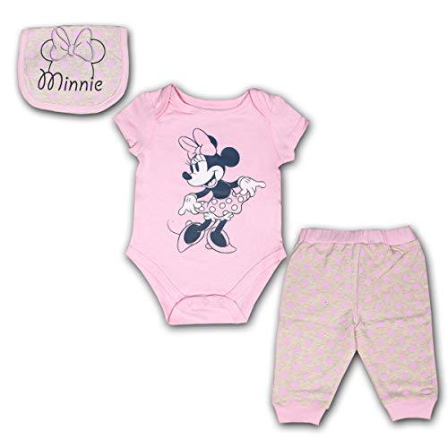 Disney Minnie Mouse 3 Pack Jogger, Onesie and Bib Set for Girls, Bodysuit Bundle for Baby, Size 6M Pink