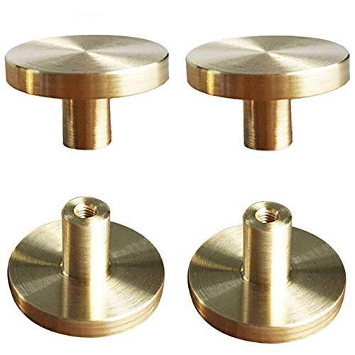 Suctato - Pomello rotondo per armadietto, in ottone spazzolato, con maniglie dorate, per armadi da cucina, porte, cassetti e decorazioni per la casa, 20 mm x 33 mm